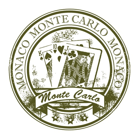 monte: Grunge rubber stamp with cards and the word Monte Carlo, Monaco inside