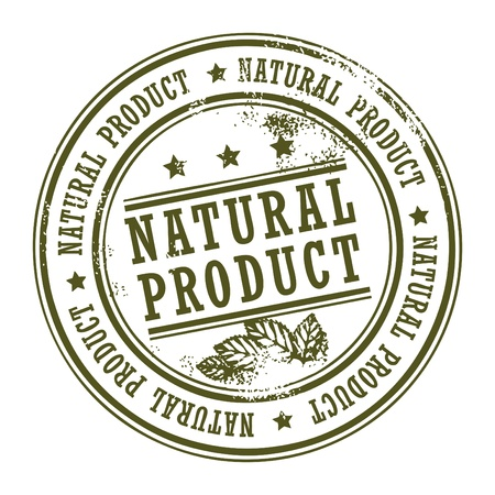 quality seal: Grunge rubber stamp with small stars and the word Natural Product inside Illustration