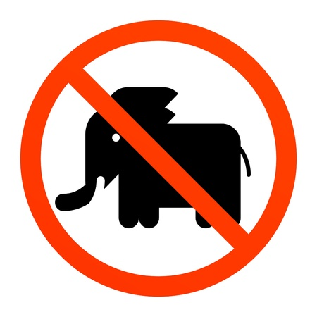 No elephant sign Stock Vector - 13872334