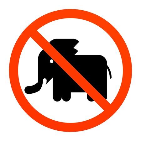 No elephant sign Stock Vector - 13872334