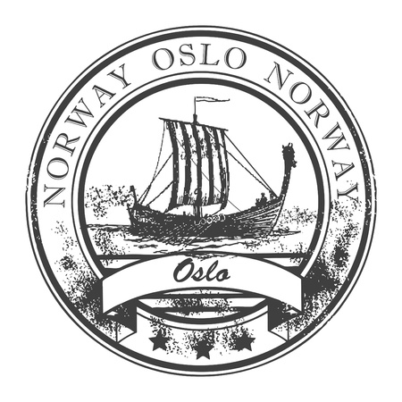 Grunge rubber stamp with Viking Ship and the word Oslo Norway inside Vector