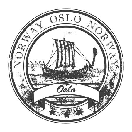 Grunge sello de goma con los Barcos Vikingos, y la palabra Oslo, Noruega en el interior