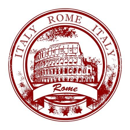 rome italie: Grunge rubber stamp avec le Colis�e de Rome et le mot, l'Italie � l'int�rieur