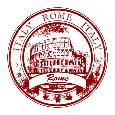 european culture: Grunge rubber stamp with Colosseum and the word Rome, Italy inside
