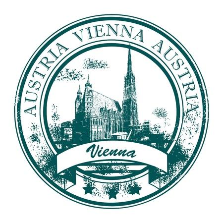 wiedeń: Grunge gumowy stempel z katedry św Szczepana s i słowa Wiedniu, Austria wewnątrz Ilustracja