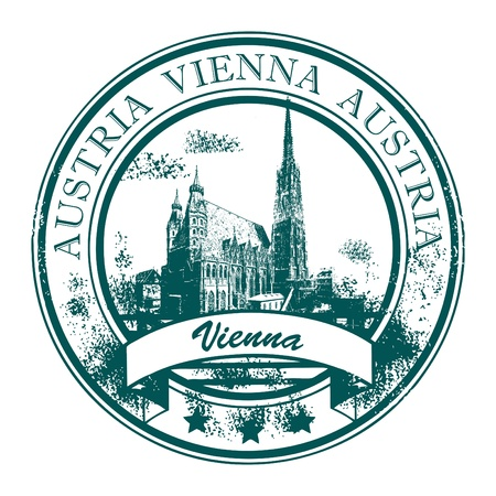 Grunge rubber stempel met de Stephansdom s en het woord Wenen, Oostenrijk binnen Vector Illustratie
