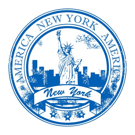 Grunge rubber stamp with Statue of Liberty and the word New York, America inside Vector