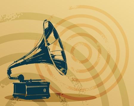 Vintage gramophone on grunge background Vector