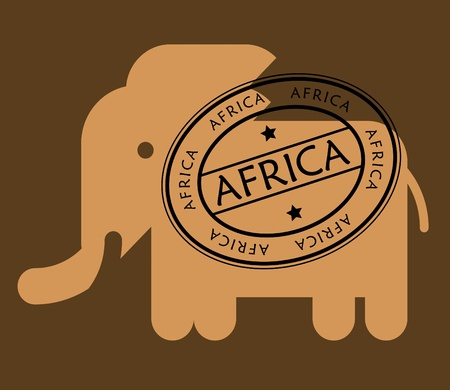 stamp passport: Stylized elephant and stamp Africa