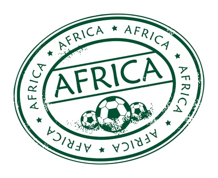 Green grunge stamp with football balls and text Africa inside Stock Vector - 13885396