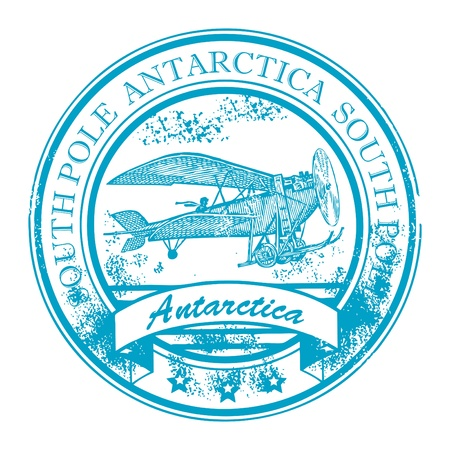 Grunge rubber stamp with retro Airplane and the word Antarctica, South Pole inside