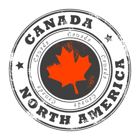 Grunge rubber stamp with word Canada, North America inside