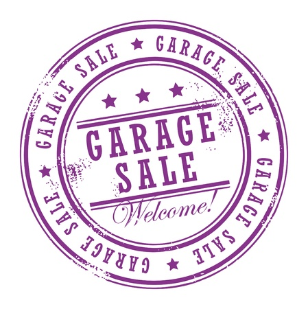 garage: Grunge rubber stamp with small stars and the word Garage Sale inside