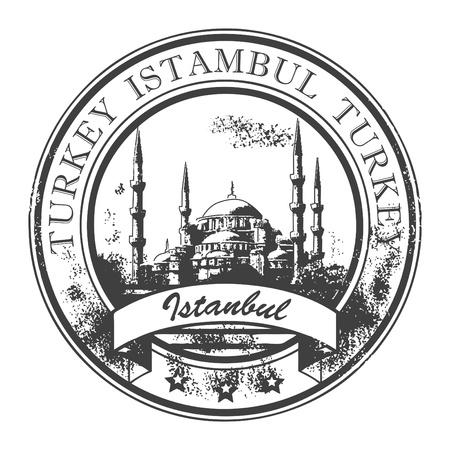 timbre voyage: Tampon en caoutchouc grunge avec la mosquée et le mot Istambul, Turquie à l'intérieur
