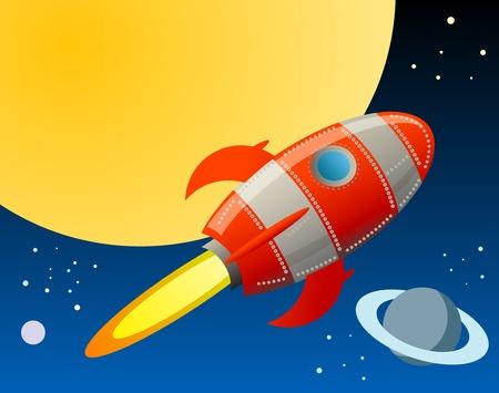 luna caricatura: Cohete en el espacio Vectores