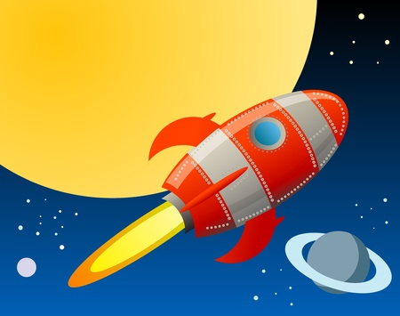 rocketship: Rocket in space