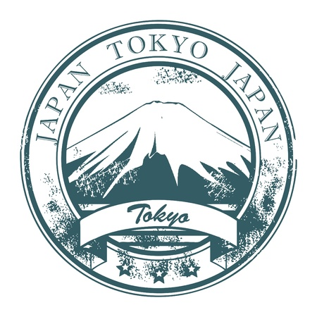 Grunge rubber stamp with Fudzi and the word Tokyo, Japan inside Vector