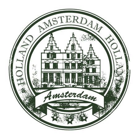 Grunge rubber stamp with old houses and the word Amsterdam, Holland inside