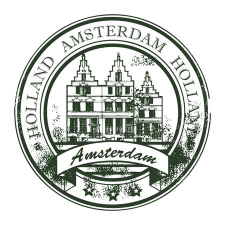 olanda: Grunge timbro di gomma con le vecchie case e la parola Amsterdam, Holland all'interno