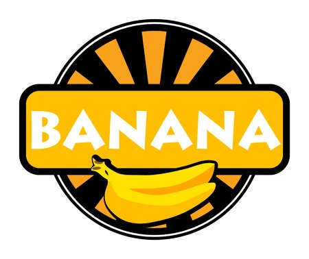 Fruit label or stamp - banana Vector