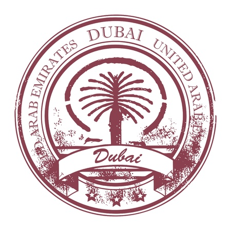 famous place: Grunge rubber stamp with Palm Jumeirah and the word Dubai, United Arab Emirates inside
