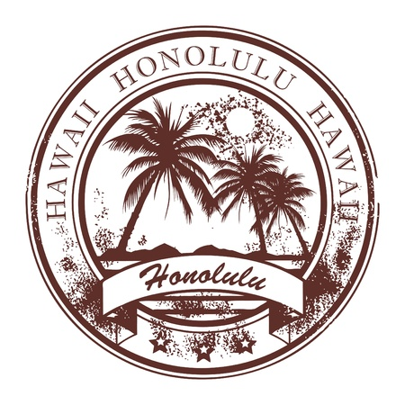 Grunge rubber stamp with palms and the word Honolulu, Havaii inside