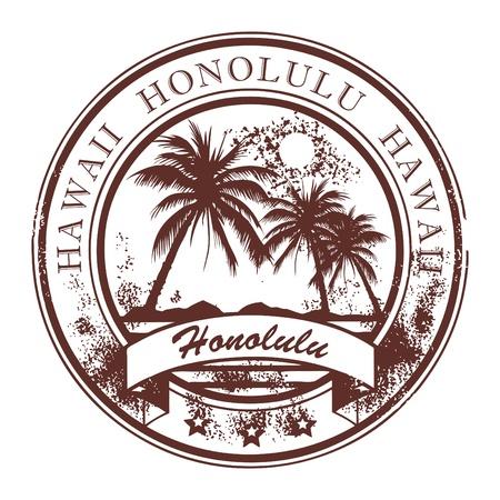 hawai: Grunge sello de goma con las palmas y la palabra de Honolulu, en el interior Havaii