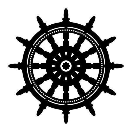 Ship steering wheel Stock Vector - 13895768