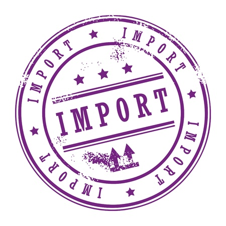 Grunge rubber stamp with small stars and the word Import inside Vector