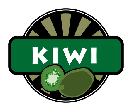 Fruit label or stamp - kiwi Vector