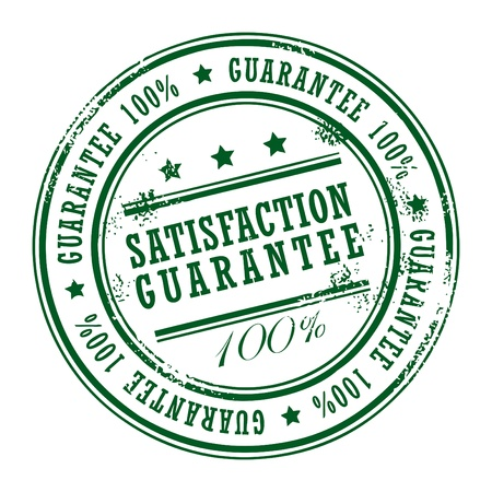 Grunge rubber stamp with small stars and the word Satisfaction Guarantee inside Vector