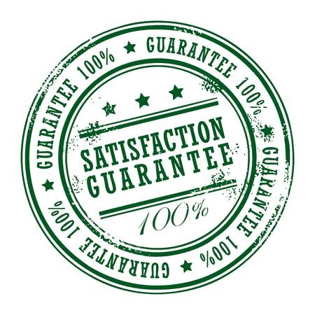 zufriedenheitsgarantie: Grunge Stempel mit kleinen Sternen und dem Wort Zufriedenheitsgarantie innen