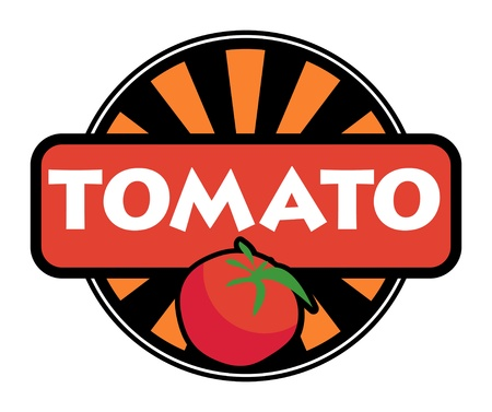 Vegetable label or stamp - tomato Vector