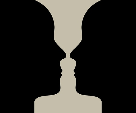 opinions: Human head make a silhouette of vase Illustration