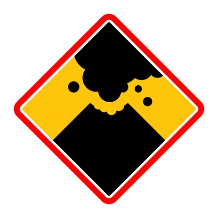 Sign with a volcano smoke Vector