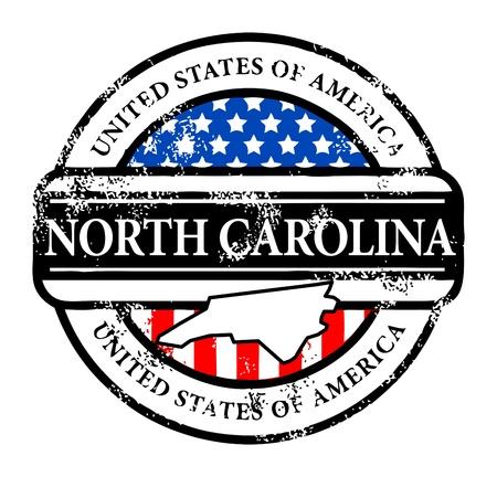 Grunge sello de goma con el nombre de Carolina del Norte Ilustración de vector
