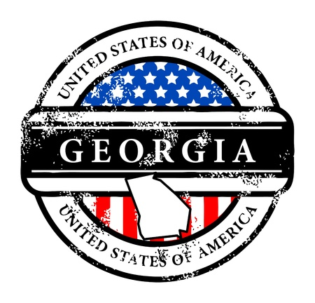 georgia flag: Grunge rubber stamp with name of Georgia Illustration