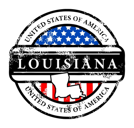 louisiana flag: Grunge rubber stamp with name of Louisiana