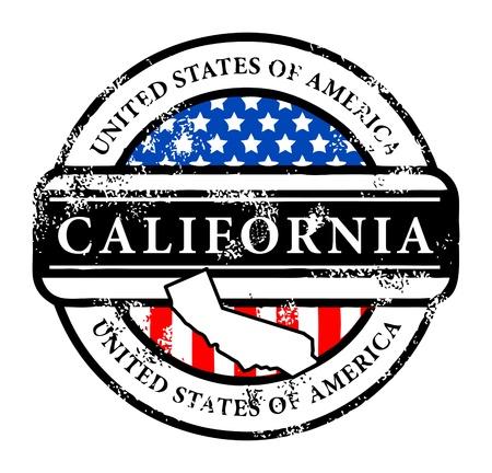 Tampon en caoutchouc grunge avec le nom de la Californie