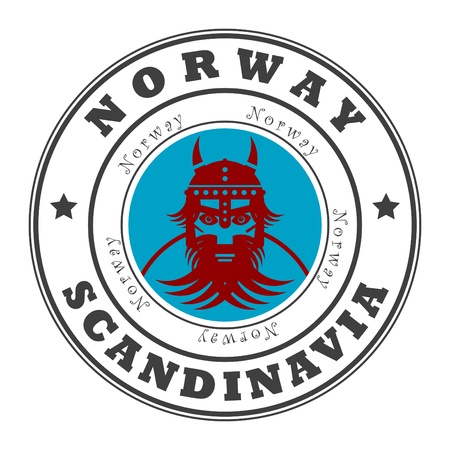 Grunge sello de goma con la palabra de Noruega, Escandinavia, en el interior