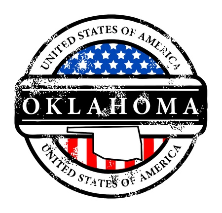 oklahoma: Grunge rubber stamp with name of Oklahoma