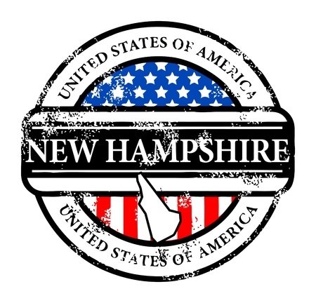 hampshire: Grunge rubber stamp with name of New Hampshire