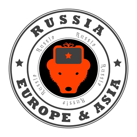 Grunge rubber stamp with word Russia, Europe and Asia inside