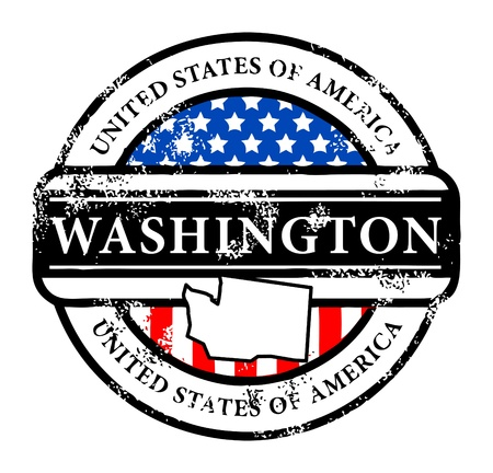 Grunge rubber stamp with name of Washington Vector