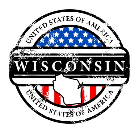 wisconsin flag: Grunge rubber stamp with name of Wisconsin Illustration