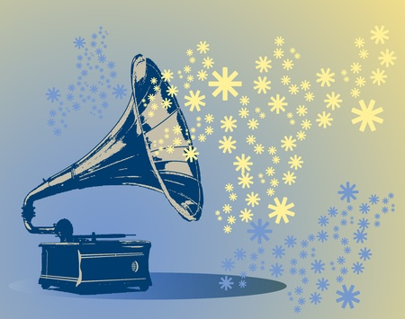 Vintage gramophone on snow flakes background Vector