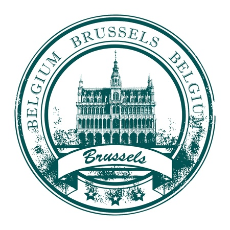 Grunge rubber stamp with the word Brussels, Belgium inside Vector