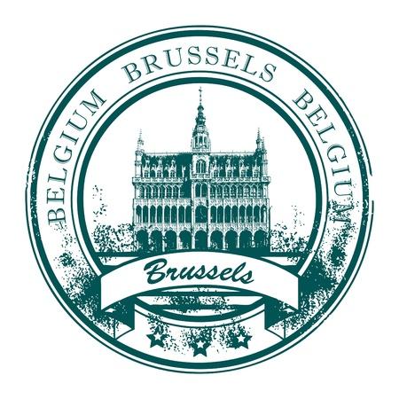 belgie: Grunge rubber stempel met het woord Brussel, België binnen