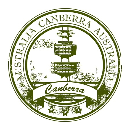 australia stamp: Grunge rubber stamp with TV Tower and the word Canberra, Australia inside