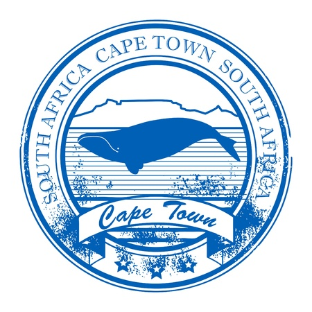 cape town: Grunge rubber stamp with whale and the word Cape Town, South Africa inside